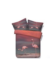 Pink Flamingo Printed Cotton 3D 4-Piece Bedding Sets/Duvet Covers Skin-friendly All-Season Ultra-soft Microfiber No-fading