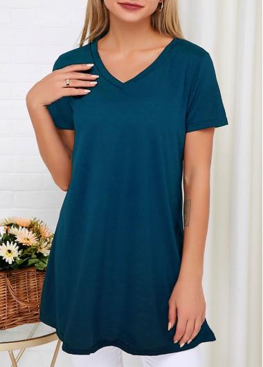 V Neck Short Sleeve Blue T Shirt - S