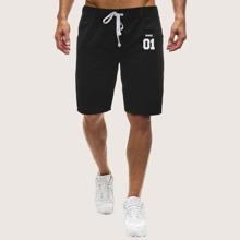 Men Letter Graphic Drawstring Waist Athletic Shorts