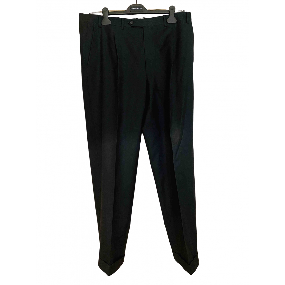 Canali \N Black Wool Trousers for Men 54 IT
