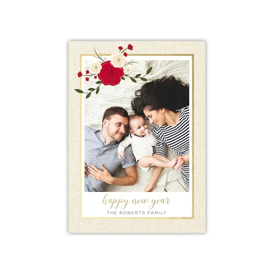 Gartner Studios® Personalized Poinsettia Linen Gold Foil Flat New Year Photo Card in Pine | 5