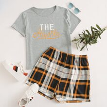 Plus Letter Graphic Tee With Tartan Shorts