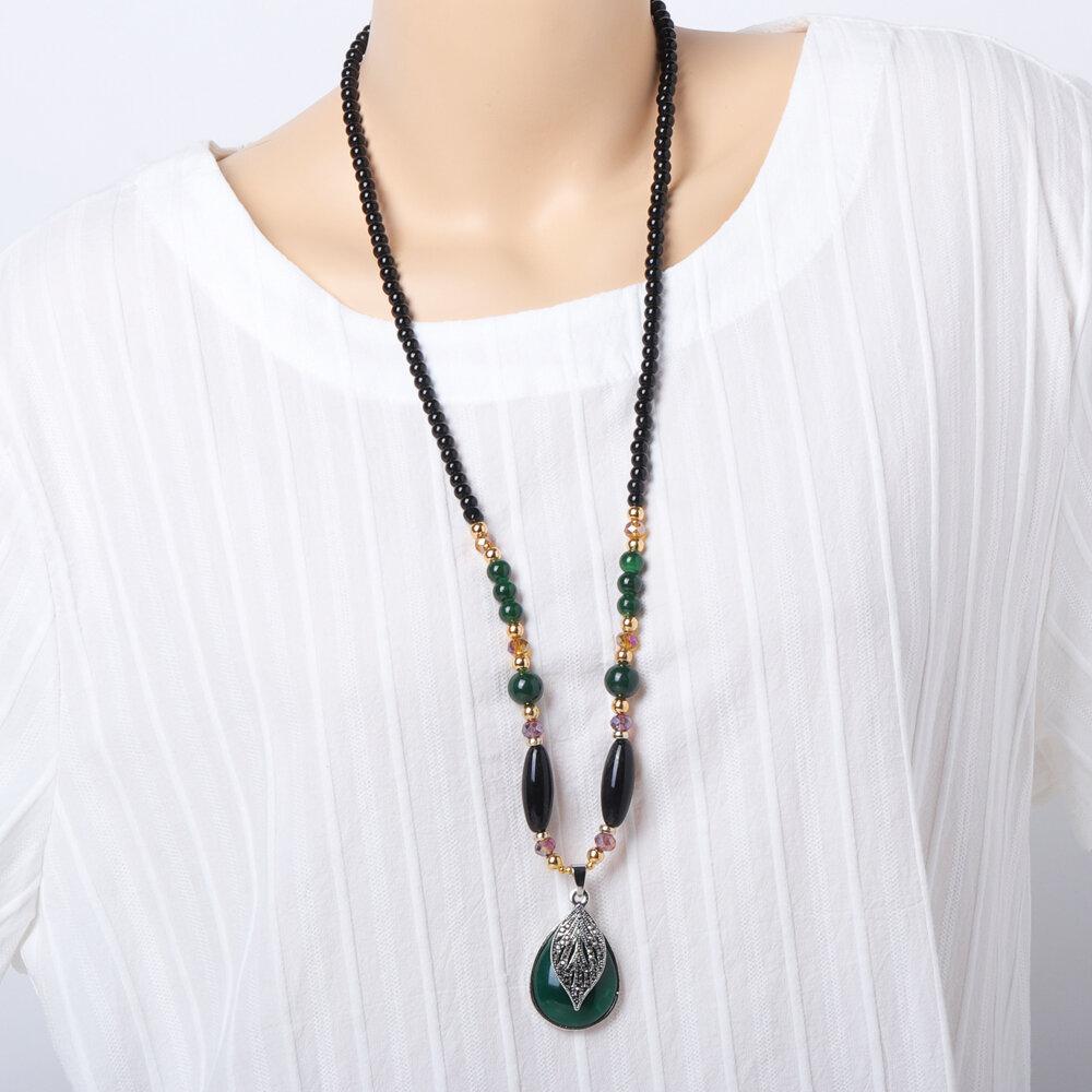 Ethnic Womens Long Necklaces Vintage Handmade Drop Leaf Elephant Pendant Beaded Necklaces