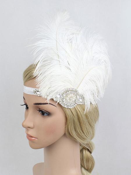Milanoo Feather Flapper Headband 1920s Great Gatsby Headpieces Rhinestones Retro Hair Accessories Halloween