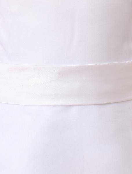 Milanoo Flower Girl Dress White A Line Kids Pageant Dress Organza Ruffles Tiered Sash Floor Length First Communion Dress