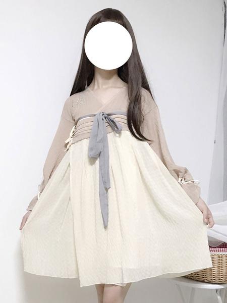 Milanoo Chinese Style Lolita OP Dress Chiffon Embroidered Bow Light Pink Lolita One Piece Dress