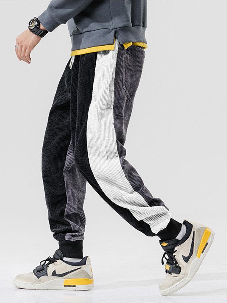 Mens Patchwork Corduroy Side Stripes Drawstring Mid Waist Jogger Pants