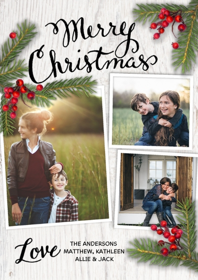 Christmas Photo Cards Flat Glossy Photo Paper Cards with Envelopes, 5x7, Card & Stationery -Christmas Pine Branches Berries White