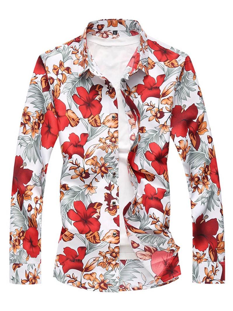 Ericdress Long Sleeve Flower Print Men's Casual Shirt