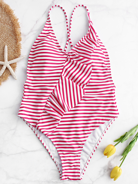 Yoins Pink Ruffle Criss Cross Backless Stripe One Piece Swimsuit