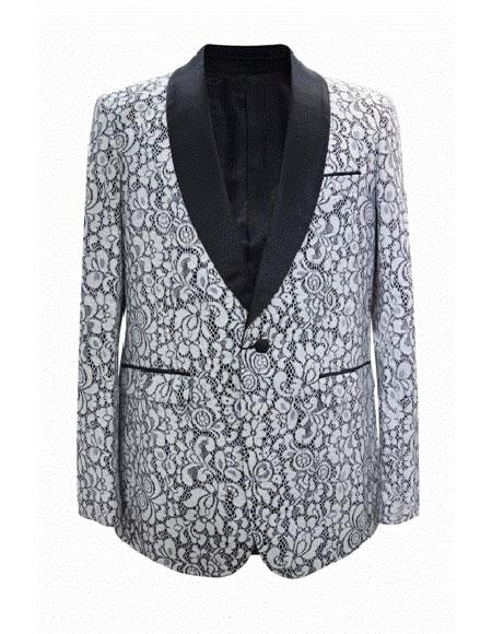Floral ~ Flower Print Mens Blazer Crazy Sport Coat White