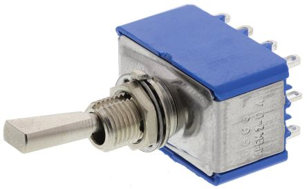 APEM 4PDT Toggle Switch, On-On, Panel Mount