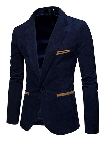 Milanoo Casual Blazer Khaki Notch Collar Two Tone Blazer For Men Pana Regular Fit Suit Jacket