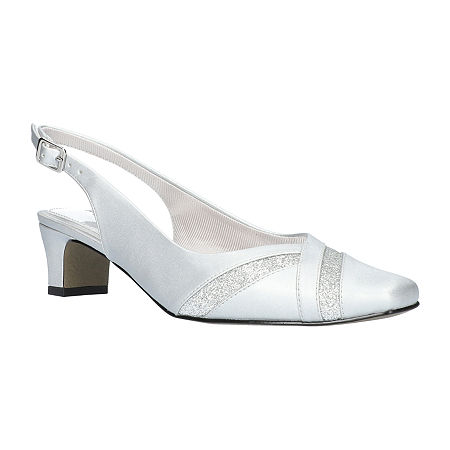 Easy Street Womens Ginny Pumps Spike Heel, 7 Wide, Silver