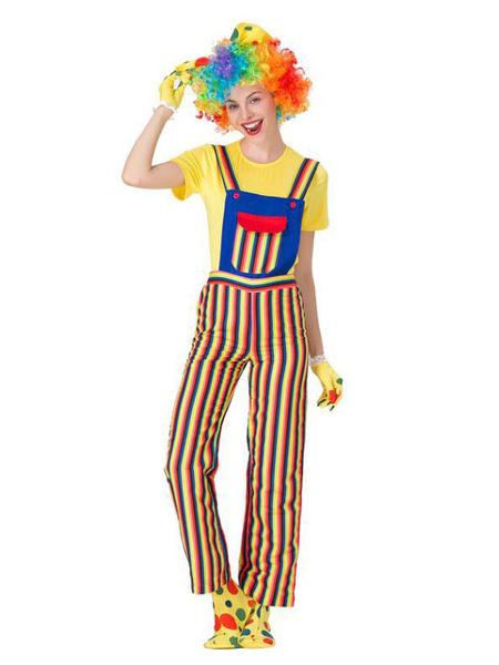 Milanoo Carnival Circus Costume Yellow Women Pant GlovesTop Set Polyester Clown Holidays Costumes Halloween