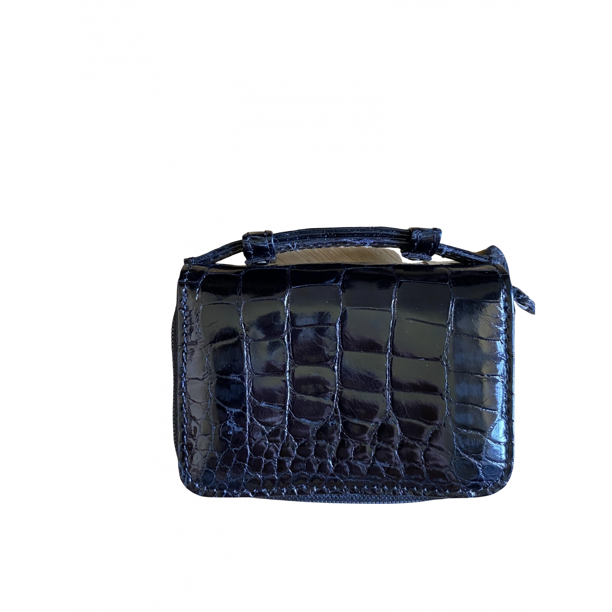 Non Signé / Unsigned \N Black Crocodile wallet for Women \N