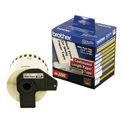 Brother DK-2205 Original Continuous Length Paper Tape, Black on White, 2.4 in x 100 ft (62 mm x 30.4 m)