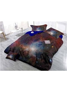 Mysterious Charming Stars and Galaxy Wear-resistant Breathable High Quality 60s Cotton 4-Piece 3D Bedding Sets