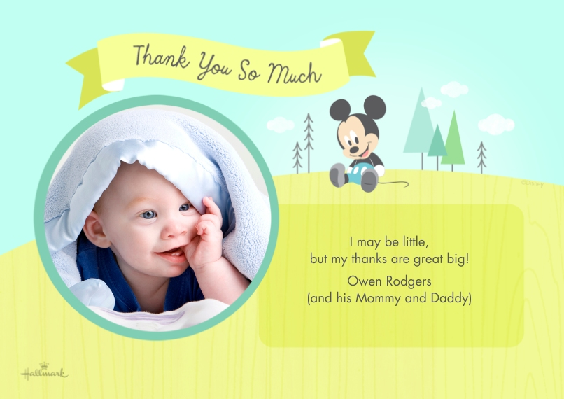 Shower Thank You Cards 5x7 Cards, Premium Cardstock 120lb with Elegant Corners, Card & Stationery -Baby Mickey Thank You