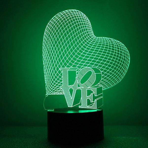 Beautiful Acrylic Heart and Love Shape LED Nightlight