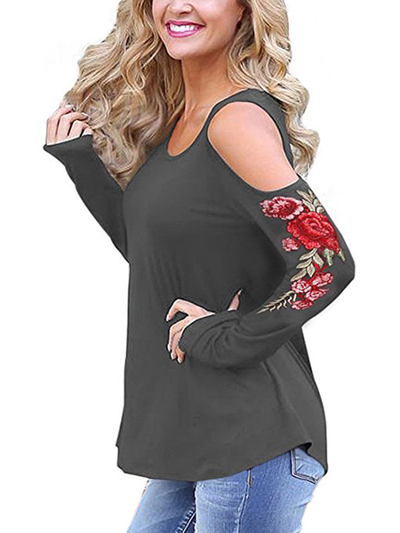Yoins Grey Embroidered Cold Shoulder Long Sleeves T-shirts