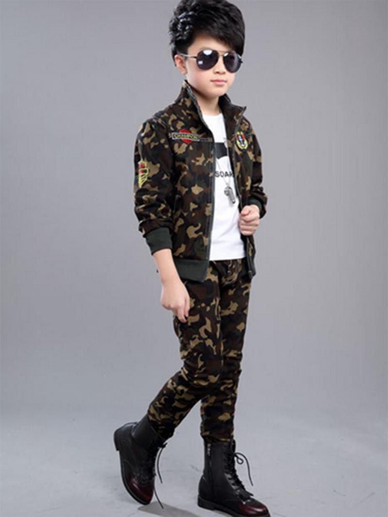 Ericdress Camouflage Zipper Unisex Kid's 2-Pcs Outfit