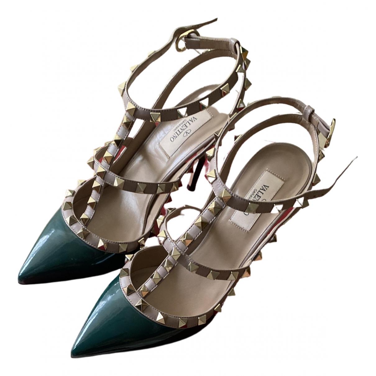 Valentino Garavani Rockstud Green Leather Heels for Women 38 EU