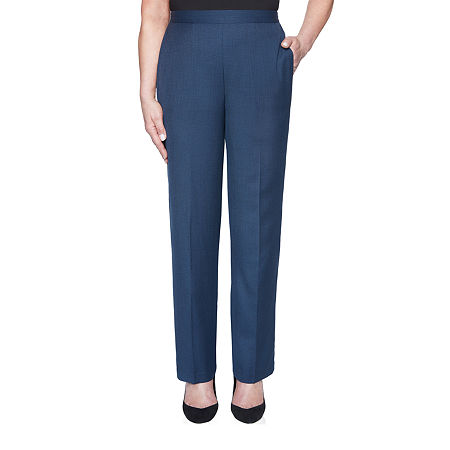 Alfred Dunner Wisteria Lane Womens Straight Pull-On Pants, 12 Short , Blue