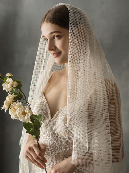 Milanoo Wedding Veil Two Tier Elastic Woven Satin Finished Edge Drop Bridal Veils