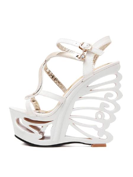 Milanoo Black Sexy Sandals Women Platform Open Toe Special Shaped Heel Sandal Shoes
