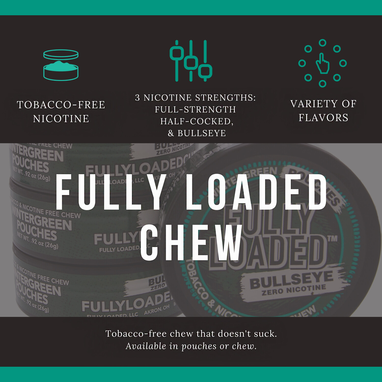 Fully Loaded Chew Tobacco and Nicotine Free Straight Bullseye Long Cut Authentic Flavor, Chewing Alternative- 5 Cans