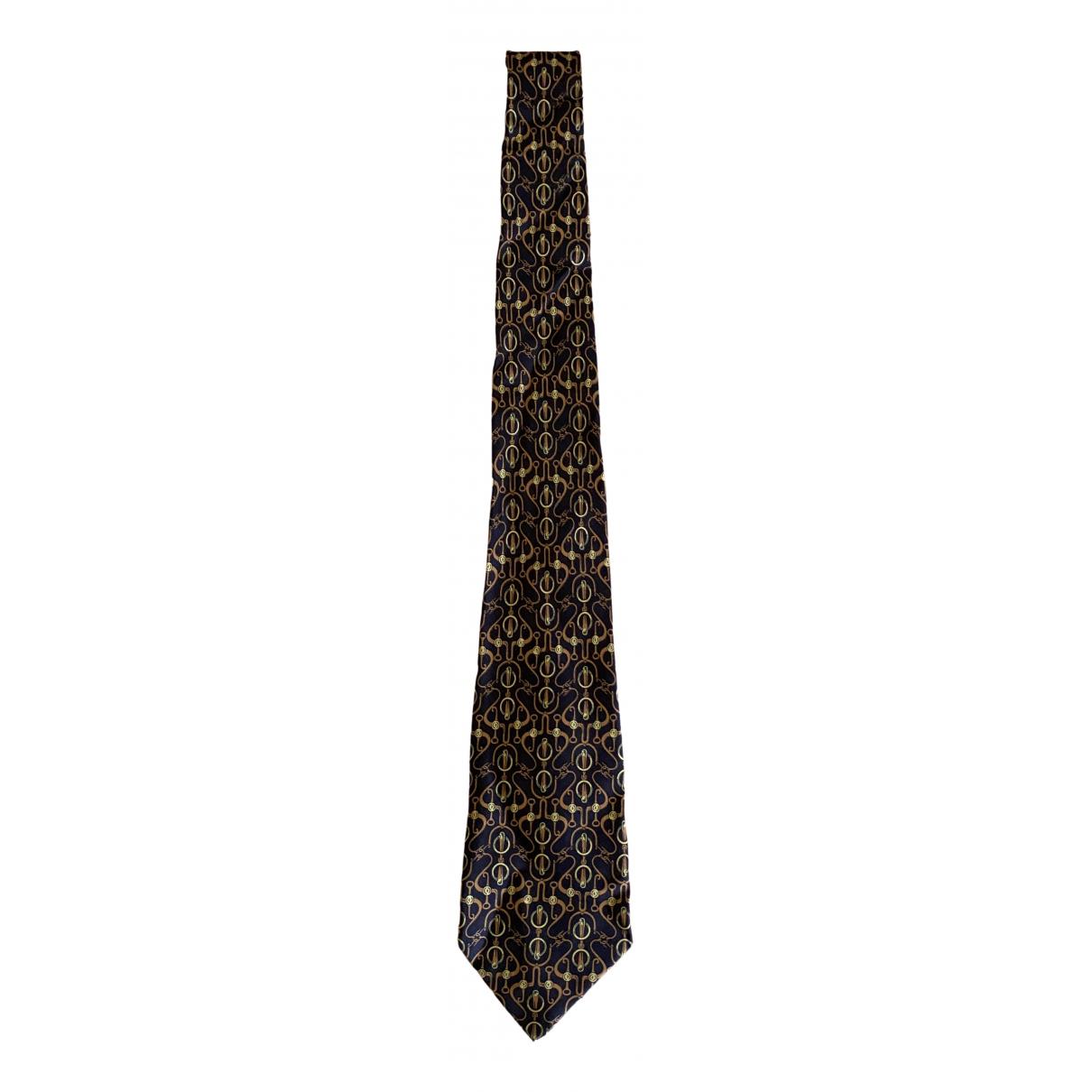 Hermès \N Navy Silk Ties for Men \N