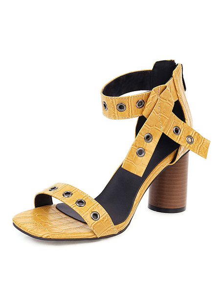 Milanoo High Heel Sandals Womens Metal Eyelets Open Toe Ankle Strap Chunky Heel Sandals