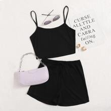 Rib-knit Crop Cami Top & Knot Detail Shorts Set