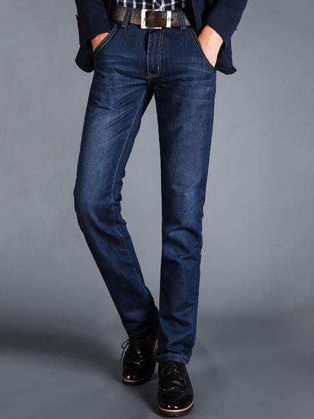 Milanoo Blue Denim Jeans Distressed Washed Striaght Leg Jean For Men
