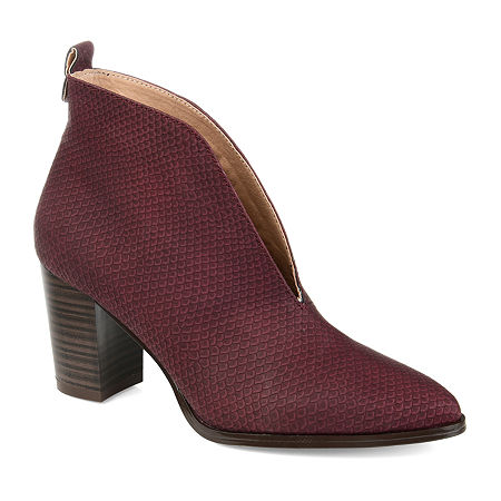 Journee Collection Womens Bellamy Stacked Heel Booties, 7 1/2 Medium, Red