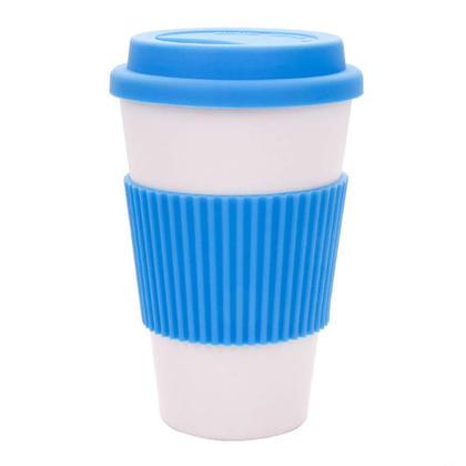 Tasse de voyage en fibre de bambou avec tasse et couvercle en silicone, 12oz - LIVINGbasics™ - Bleu