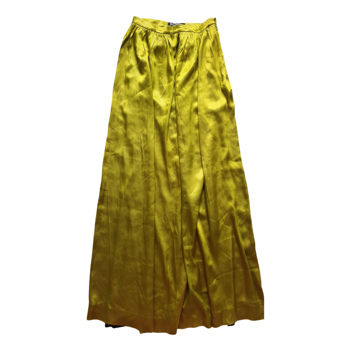 Balmain \N Gold Silk skirt for Women 38 FR