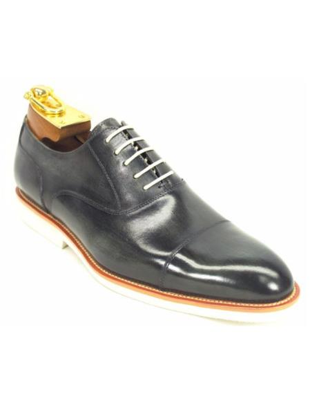 Men's Grey Leather Lace Up Oxford Fashion Shoes With White Sole
