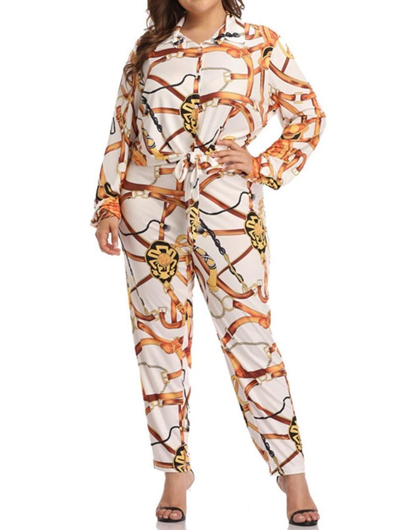 Ericdress Plus Size Geometric Casual Lapel Women's Suit Shirt And Pants Two Piece Sets