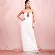 Sequin Bodice Mesh Tube Prom Dress
