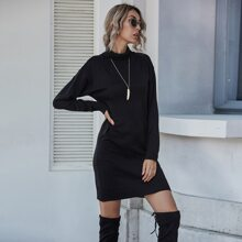 Solid High Neck Knit Dress