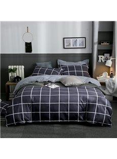 Black Grid Printed 4-Piece Bedding Sets/Duvet Covers