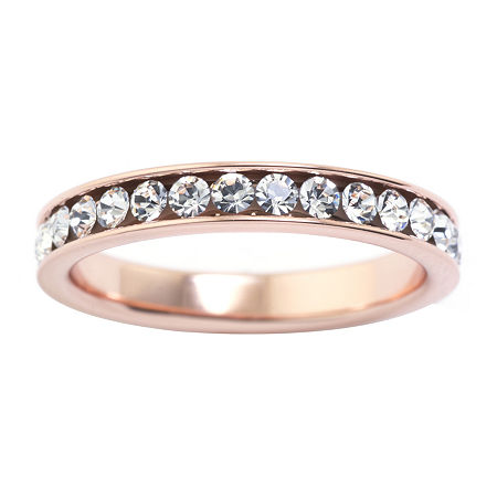Sparkle Allure Crystal Pure Silver Over Brass Stackable Ring, 7 , No Color Family