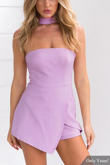 Yoins Purple Sexy Halter Strapless Design Sleeveless Playsuit