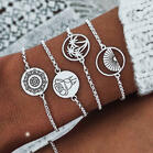 4Pcs Mandala Hollow Out Round Bracelet Set