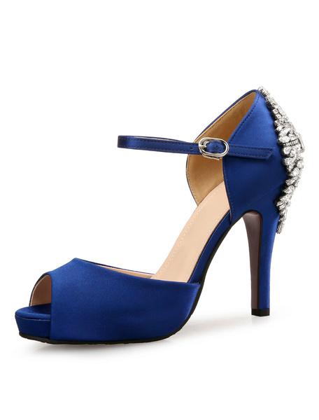 Milanoo Blue Wedding Shoes Satin Peep Toe Crystal Pumps High Heel Bridal Shoes