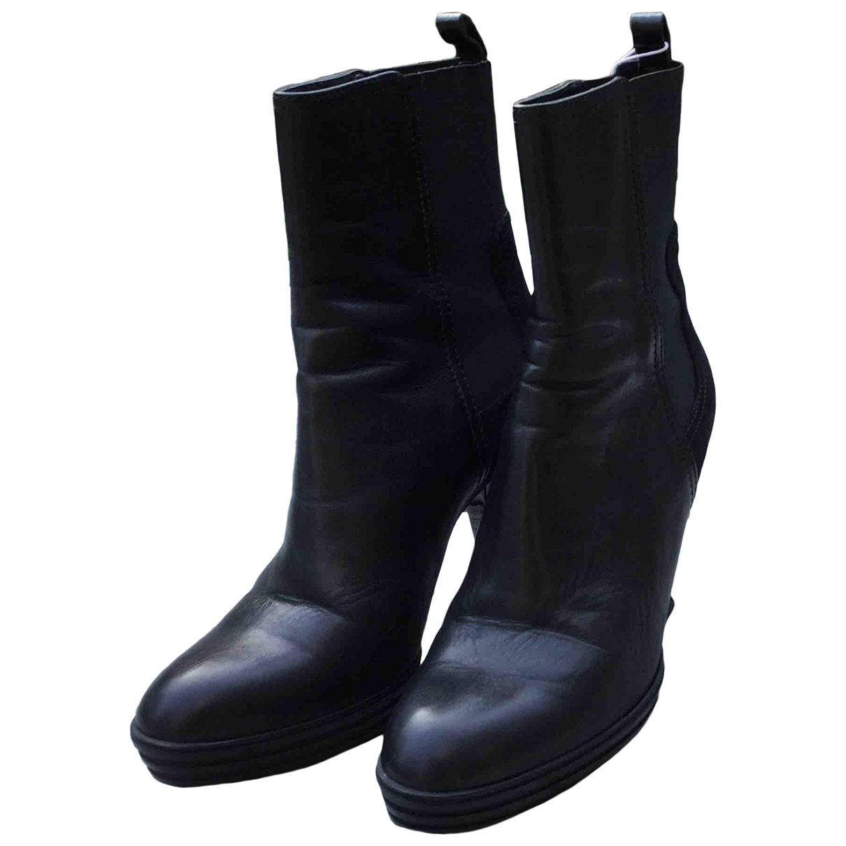 Hogan \N Black Leather Ankle boots for Women 38.5 EU