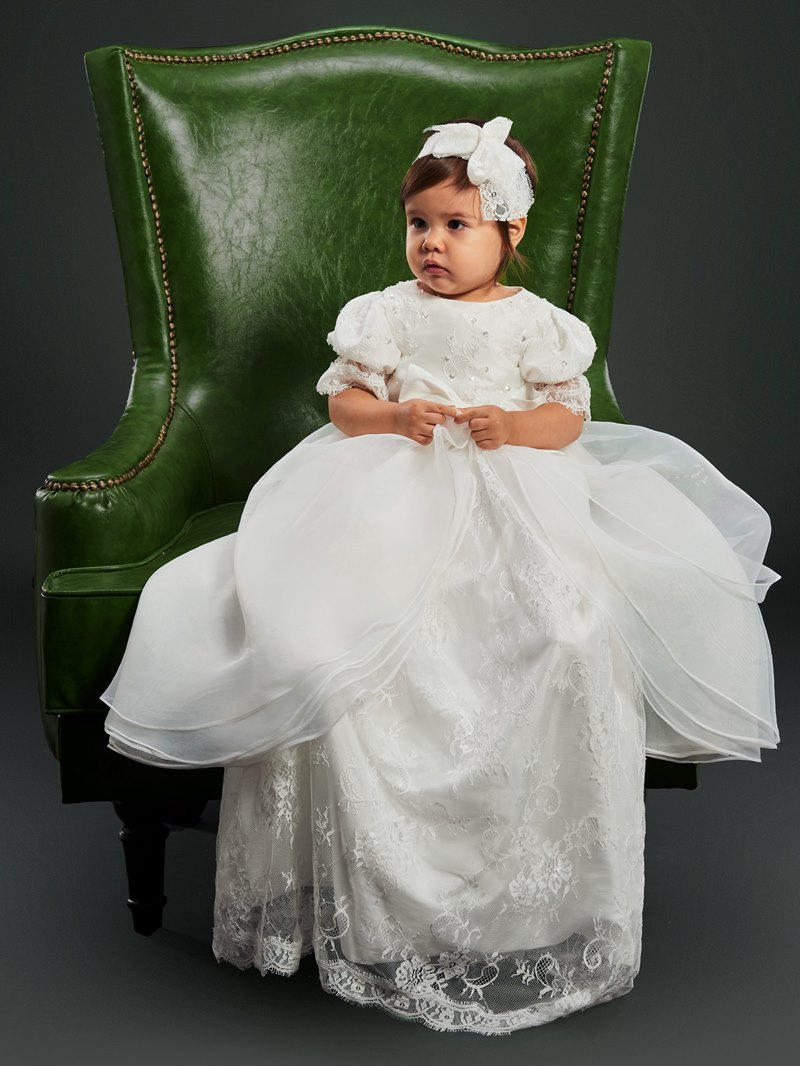 Ericdress Lace Tulle Infant Baby Girl's Christening Gown with Headpiece