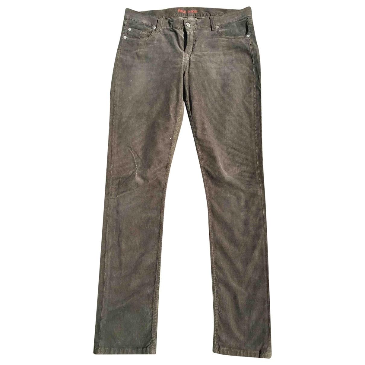 Paul & Joe \N Khaki Velvet Trousers for Women 40 FR